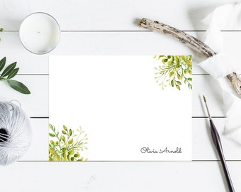 Personalized Note Cards & Envelopes, Custom Stationery with Name, Flat Cards, Botanical Greenery Watercolor