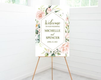 Welcome Wedding Ceremony Sign, Blush Pink Floral, Gold Geometric Frame, Wedding Decor, Foam Board Sign