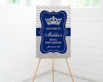 Royal Prince Baby Shower Welcome Sign, Baby Shower Decoration, Blue, Silver Glitter, Foam Board Sign