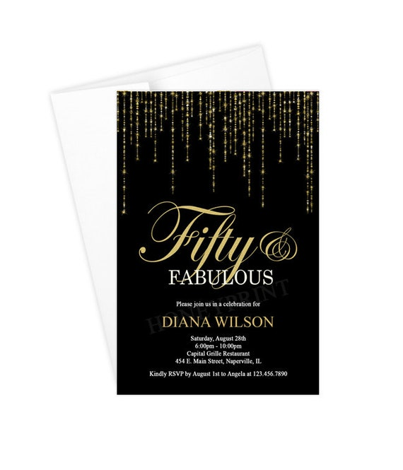 Fifty And Fabulous Birthday Party Invitation 50th Black Gold Printable Or Printed