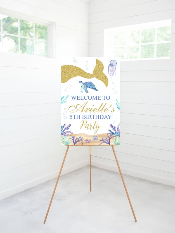 First Birthday Mermaid Birthday Welcome Sign Under the Sea Party Decoration Whimsical Mermaid Tail 1st Birthday Printable Download MER7
