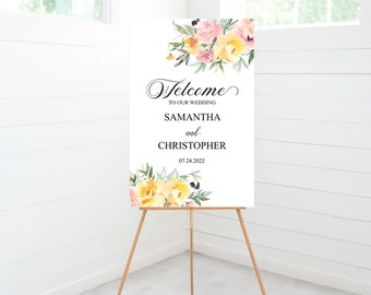 Spring Floral Wedding Ceremony Welcome Sign, Yellow and Pink Flowers, Wedding Decor, Foam Board Sign -SPRINGHF