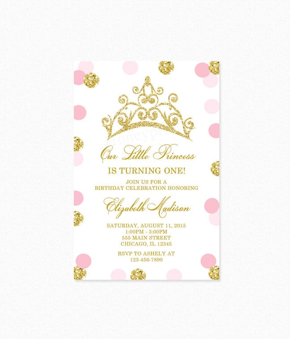 Pink and gold princess tiara crown birthday party invitation gold il570xn filmwisefo