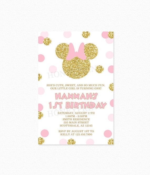Minnie mouse birthday party invitation personalized printable jpeg il570xn filmwisefo