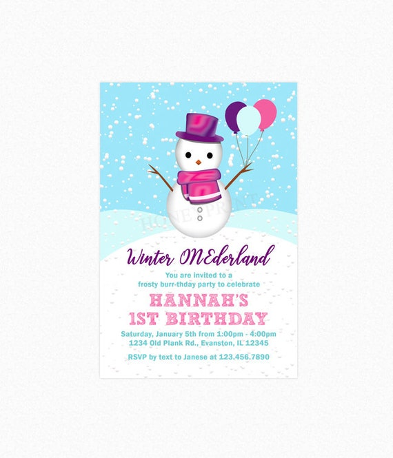 snowman birthday party invitations winter onederland invites girl