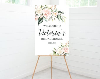 Bridal Shower Welcome Sign, Bridal Shower Decorations, Blush Pink Floral, Foam Board Sign