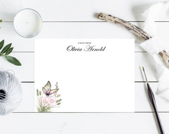 Butterfly Floral Notecard Stationery Set, Initial Monogram, Personalized Gifts