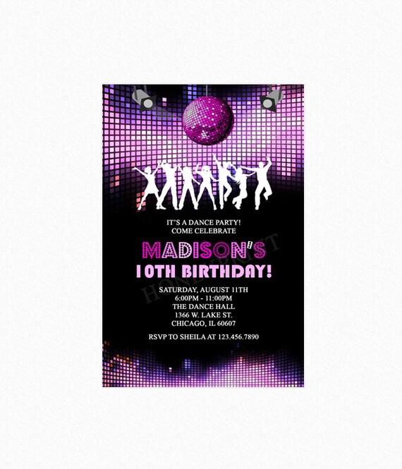 dance birthday party invitation disco party invitation pink disco