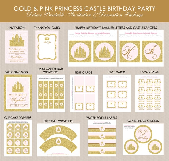 Princess Castle Birthday Party Printables Package Pink Gold