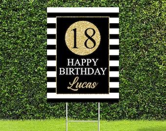 "18th Birthday Party Yard Sign, Quarantine Birthday Yard Sign, 18""x24"" or 24""x36"" Printed Sign"