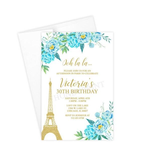 Paris Birthday Party Invitation Eiffel Tower Blue