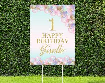 """Balloon Birthday Party Yard Sign, Pastel and Glitter Balloons, Quarantine Birthday, 1st Birthday, 18""""x24"""" or 24""""x36"""" Printed Sign"""