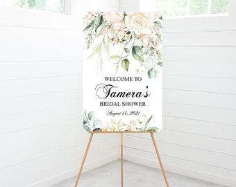 Bridal Shower Welcome Sign, Bridal Shower Decorations, Blush Pink Floral, Greenery, Foam Board Sign