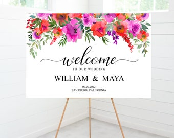 Wedding Welcome Sign, Bright Pink Purple Red Color Florals, Wedding Decor, Foam Board Sign -FORTALRDPUR