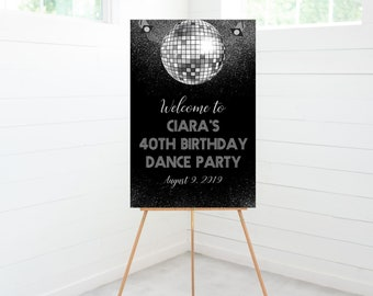 Disco Party Welcome Sign, Silver Disco Ball, Birthday Party Decoration, Foam Board Sign