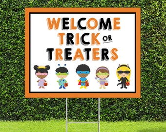 """Welcome Trick or Treaters Yard Sign, 18""""x24"""" Yard Sign with Metal Stakes Included"""
