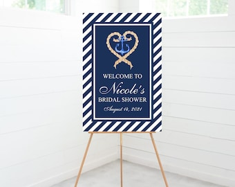 Bridal Shower Welcome Sign, Bridal Shower Decorations, Nautical Anchor, Blue White Stripes, Foam Board Sign