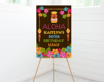Luau Party Welcome Sign, Luau Party Decorations, Foam Board Sign