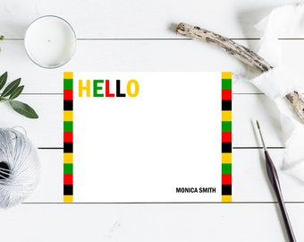 Personalized Note Cards & Envelopes, Custom Stationery with Name, Flat Cards, Hello