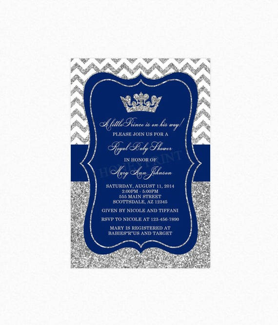 prince baby shower invitation royal blue silver baby shower etsy
