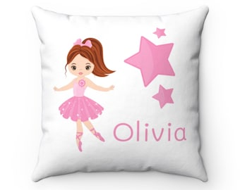 Ballerina Personalized Name Room Pillow, Kid Home Decor, 14x14 Pink Teal Decorative Pillow, #Poppy