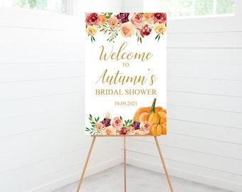 Bridal Shower Welcome Sign, Bridal Shower Decorations, Entry Sign, Fall Floral, Orange Pumpkins, Foam Board Sign