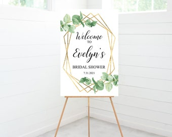 Greenery Bridal Shower Welcome Sign, Bridal Shower Decorations, Foam Board Sign