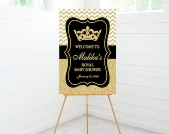 Prince Baby Shower Welcome Sign, Black Crown Gold, Baby Shower Decoration, Foam Board Sign