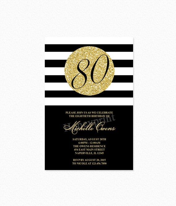 Gold 80th birthday party invitation black and white stripes etsy image 0 filmwisefo