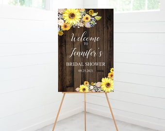 Sunflower Bridal Shower Welcome Sign, Bridal Shower Decorations, Entry Sign, Yellow Floral, Rustic, Foam Board Sign