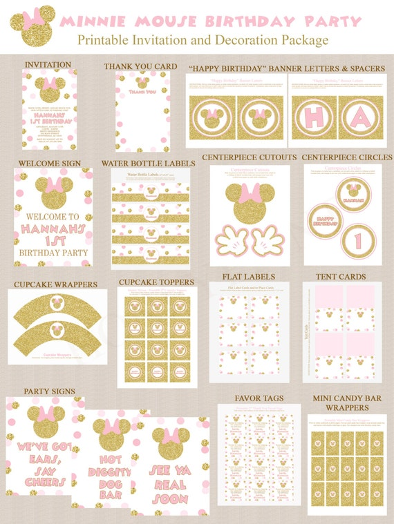 Minnie Mouse Birthday Party Decoration Printables 2 Pink Gold