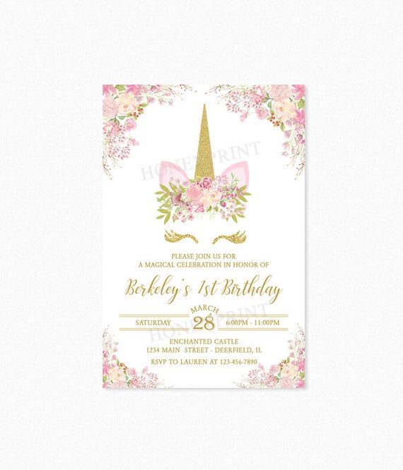 Unicorn Birthday Party Invitation Unicorn Head Invitation 1st