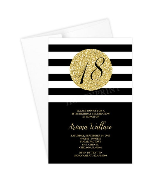 18th Birthday Party Invitation, Black and Gold, Printable or Printed