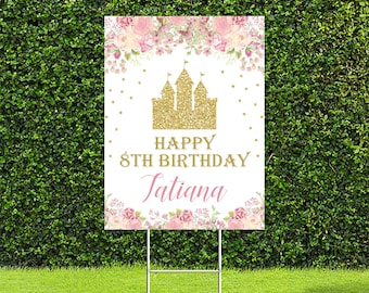 """Princess Castle Birthday Party Yard Sign, Quarantine Birthday Yard Sign, 1st Birthday, 18""""x24"""" or 24""""x36"""" Printed Sign"""