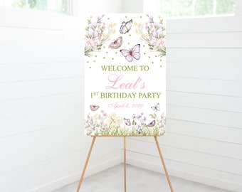 Butterfly Birthday Party Welcome Sign, Birthday Party Decoration, Foam Board Sign