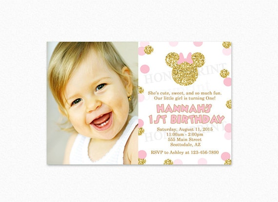 Pink Gold Minnie Mouse Birthday Party Invitation Gold Glitter