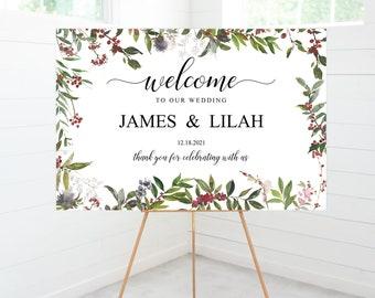 Winter Wedding Welcome Ceremony Sign, Winter Berries, Reception Sign, Wedding Decor, Foam Board Sign #WinterBeLA