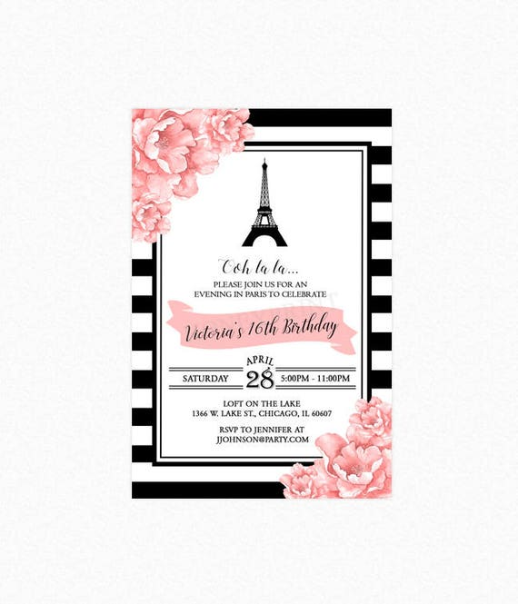 paris birthday party invitation sweet sixteen invitation eiffel