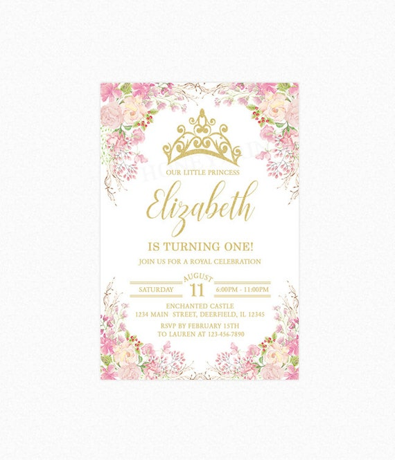Princess tiara birthday party invitation pink flowers floral etsy image 0 filmwisefo