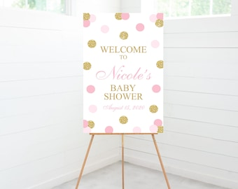 Polka Dots Baby Shower Welcome Sign, Baby Shower Decoration, Pink, Gold Glitter, Foam Board Sign