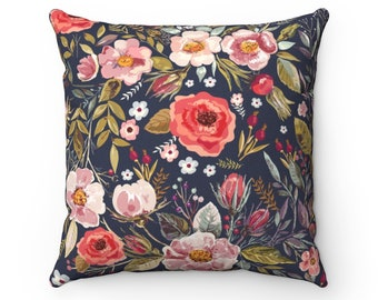 Vintage Floral Garden Throw Pillow, Dark Blue Pink Green, Decorative Home Décor, Square Pillow Cover or Pillow