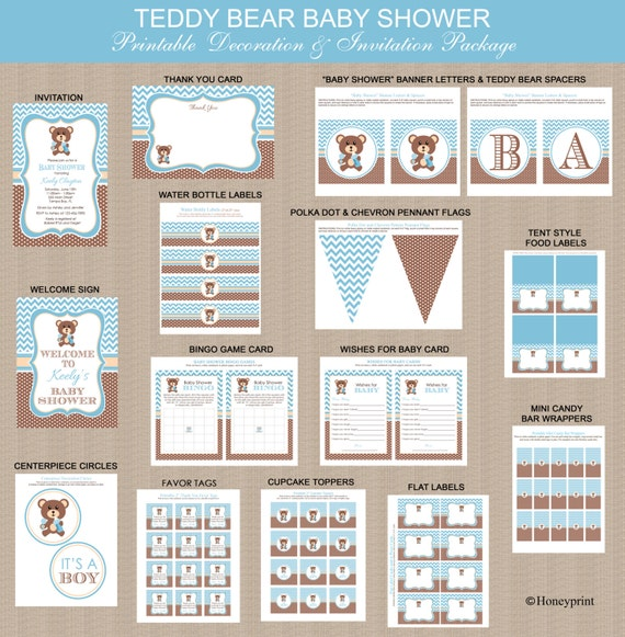Teddy Bear Baby Shower Printables Package Printable Teddy Etsy