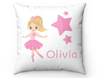 Ballerina Personalized Name Room Pillow, Kid Home Decor, 14x14 Pink Teal Decorative Pillow, #Kayla