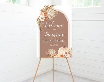 Pumpkin Pampas Arch Bridal Shower Sign, Shower Welcome, Bridal Shower Decorations, Monochromatic, Foam Board Sign