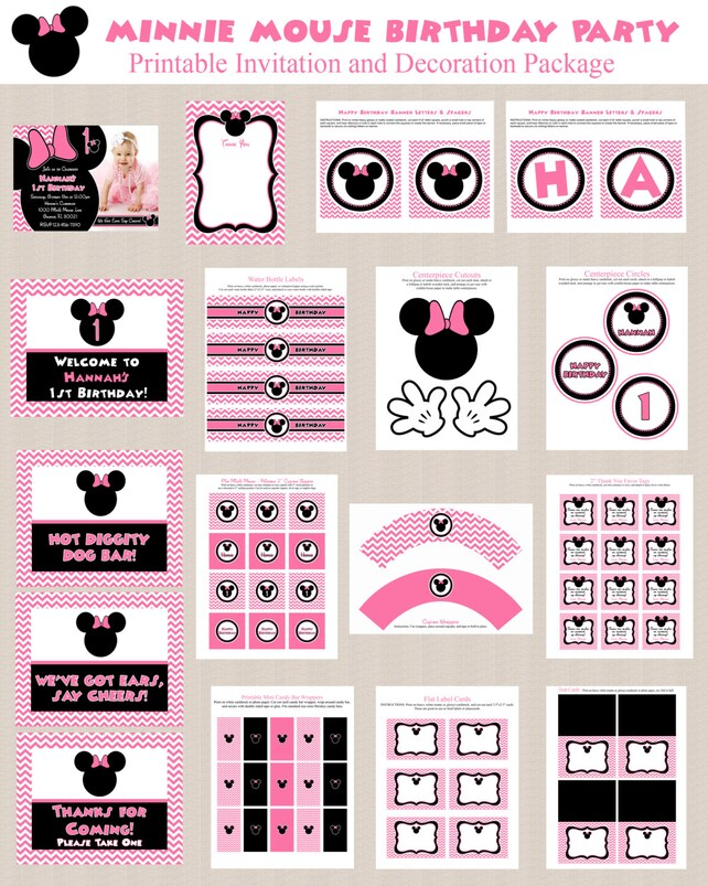 graphic about Printable Chevron Pattern identify Minnie Mouse Birthday Bash Printables, Minnie Mouse Occasion