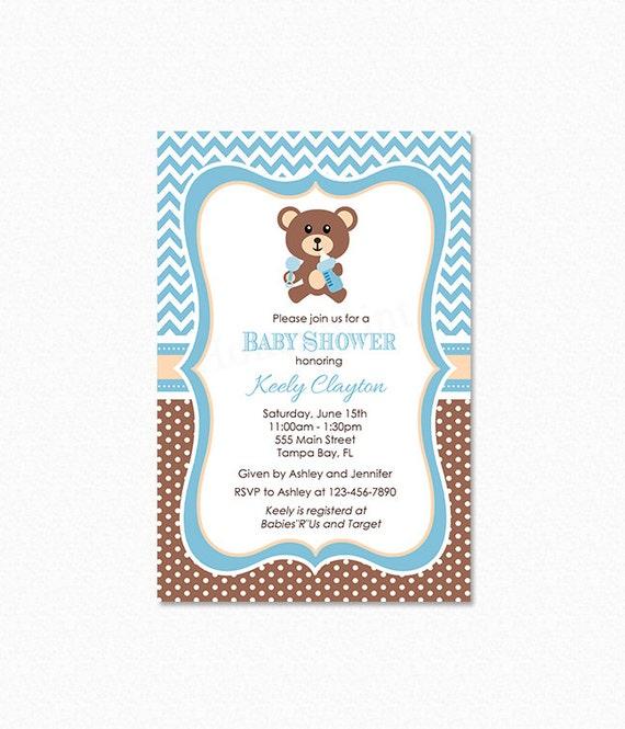 Oso de peluche del bebé ducha invitación oso bebé ducha | Etsy