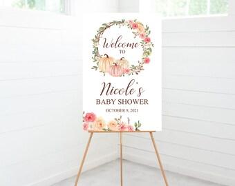A little Pumpkin Baby Shower Sign, Welcome Sign, Girl Baby Shower Decorations, Pink Pumpkin, Dusty Fall Floral, Foam Board Sign