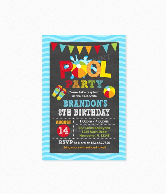 Pool Party Invitation Boy Birthday Invite Swim Personalized Printable Or Printed