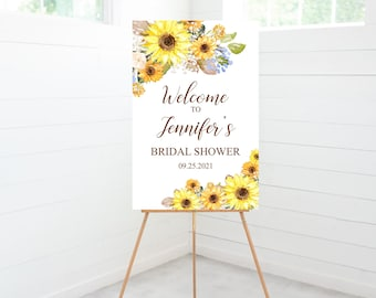 Sunflower Bridal Shower Welcome Sign, Bridal Shower Decorations, Entry Sign, Yellow Sunflowers, Rustic, Foam Board Sign