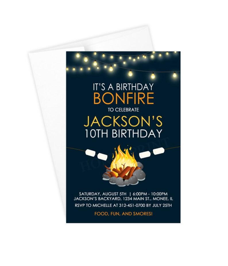 Boy Bonfire Birthday Party Invitations Printable Or Printed